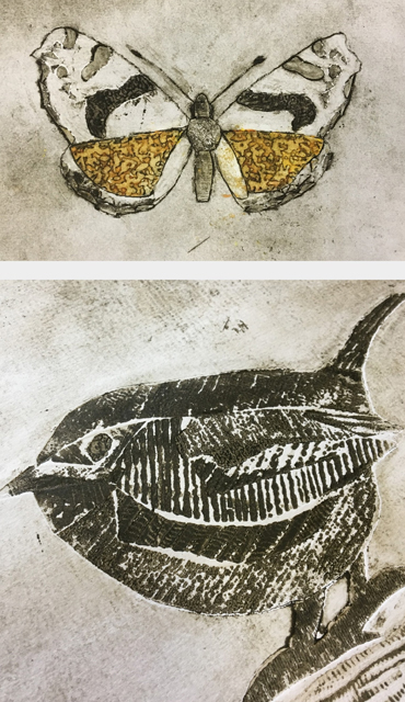 Jo Sheppard image - collagraph student prints