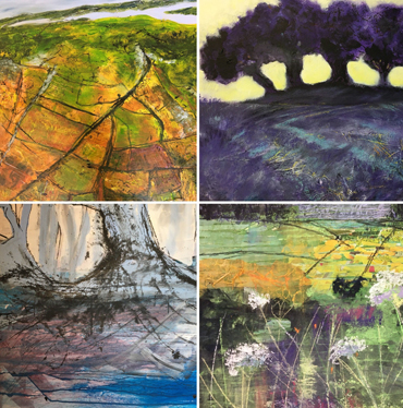 Mixed media landscapes by Jo Sheppard's students