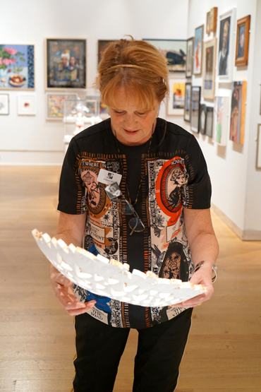Deborah Bird showing her paper sculpture