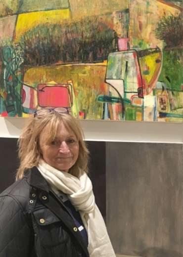 Thumbnail image of Jax Crew with her work at The Open Exhibition - The Open Exhibition