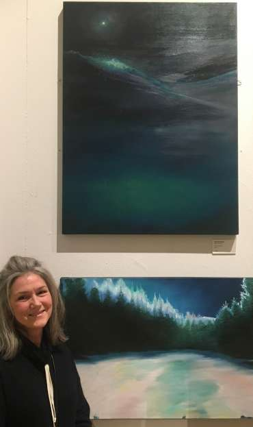 Thumbnail image of Jane Domingos with her work at The Open Exhibition - The Open Exhibition