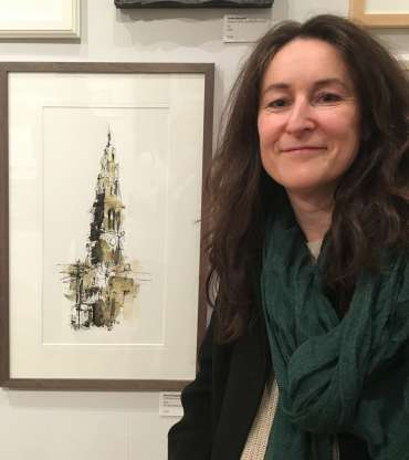 Thumbnail image of Emma Fitzpatrick with her work at The Open Exhibition - The Open Exhibition