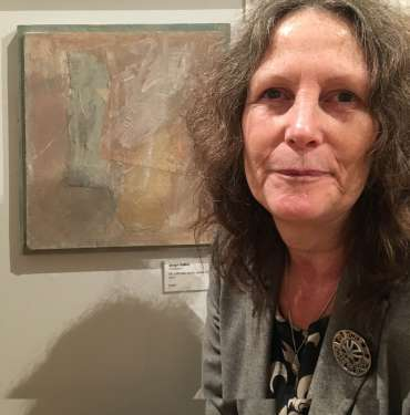 Thumbnail image of Jacqui Gallon with her work at The Open Exhibition - The Open Exhibition