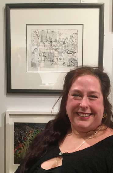 Thumbnail image of Jane Sunbeam with her work at The Open Exhibition - The Open Exhibition