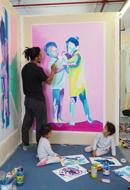 Tim Fowler painting his daughters