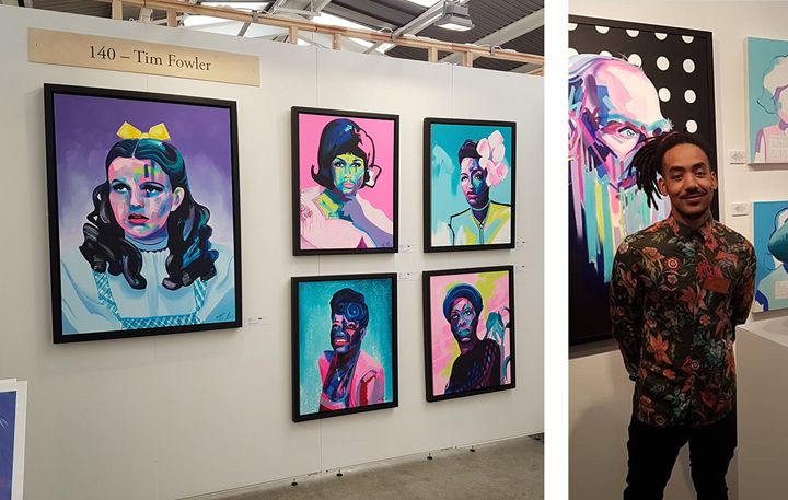 Tim Fowler with exhibition at art fair