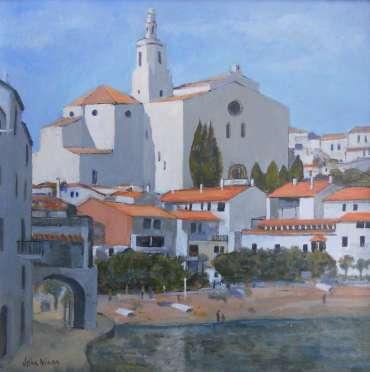 Thumbnail image of 46: John Nixon, 'Waterside View, Cadaques, Spain' - LSA Annual Exhibition 2020   Artwork