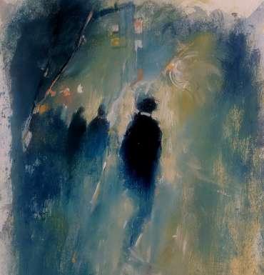 Thumbnail image of 58: Linda Sharman, 'Figures through the Light, Leicester' - LSA Annual Exhibition 2020   Artwork