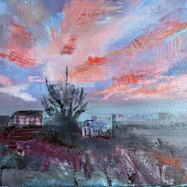 Thumbnail image of Julie Manson, 'Salmon Sky and Allotment Buildings' - Inspired   April
