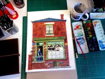 Thumbnail image of Robert Hewson, 'Beck Bugby's Shop' - work in progress - Inspired   April