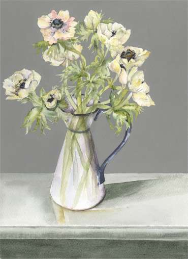 Thumbnail image of Vivienne Cawson, 'Anemones in a Blue and White Jug' - Inspired   April