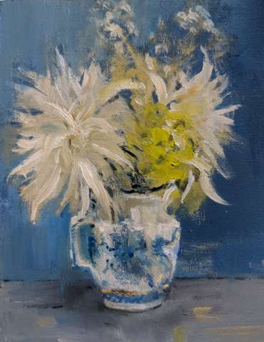 Thumbnail image of Linda Sharman, 'Last few Flowers from a bouquet in old cream jug' - Inspired | June