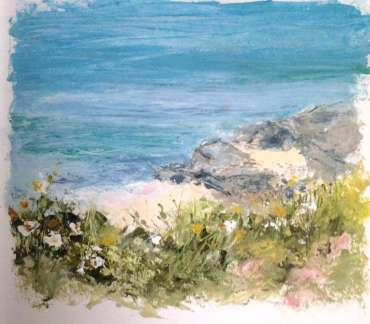 Thumbnail image of Vivien Blackburn, 'Near Treaddur Bay'oil in sketchbook, plein air - Inspired | June