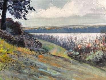 Thumbnail image of Jo Sheppard,' Cropston Reservoir' (work in progress) - Inspired | July