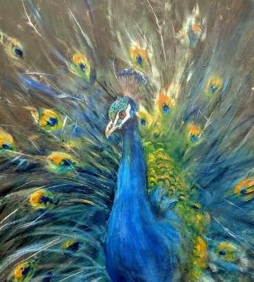 Thumbnail image of Linda Sharman, 'Peacock', (work in progress) - Inspired | July
