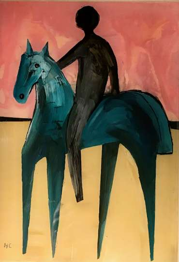 Thumbnail image of Henrietta Corbett, 'Blue Horse with Rider' - Inspired | November 2020