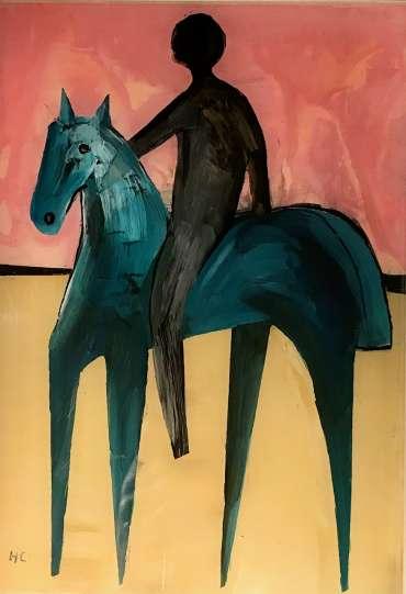 Thumbnail image of Henrietta Corbett, 'Blue Horse with Rider' - Inspired   November 2020