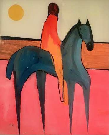 Thumbnail image of Henrietta Corbett, Grey Horse on Pink Land - Inspired   November 2020
