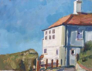 Thumbnail image of Lesley Brooks, 'Cliff Top House, Cromer, Summer' - Inspired   November 2020