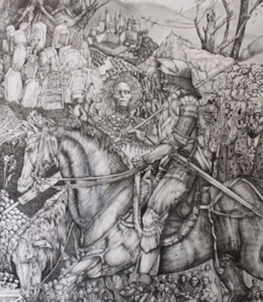 Exhibition  |  Large drawing by George Sfougaras on loan to New Walk Museum
