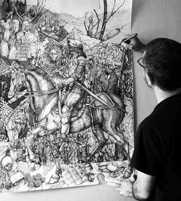 George Sfougaras working on The Knight, Death and the Devil