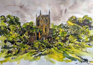Thumbnail image of Sue Clegg (Leicester), 'St Mary de Castro, Leicester' - 'Virtualsketch'  Walk in Leicester has global success
