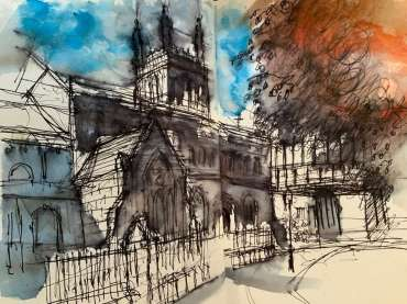 Thumbnail image of Tony O'Dwyer, (Leicester), 'St Mary de Castro' - 'Virtualsketch'  Walk in Leicester has global success