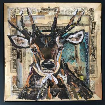 Thumbnail image of 80 | Danielle Vaughan | Solitary Stag (in Sepia and Turquoise) - LSA Annual Exhibition 2021 | Catalogue S - Z