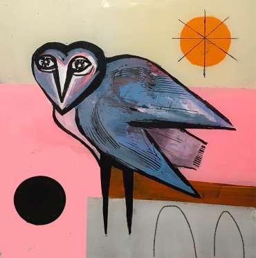 Thumbnail image of Henrietta Corbett, Blue Owl with Bridges - Inspired | March