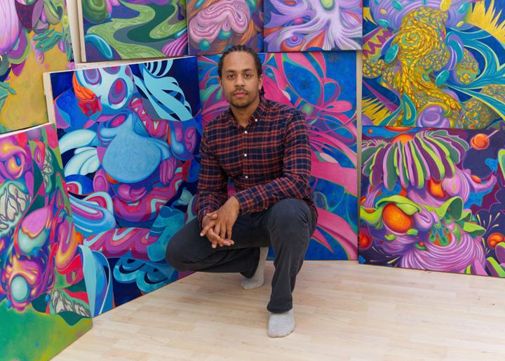Jarvis Brookfield with his artwork  2021