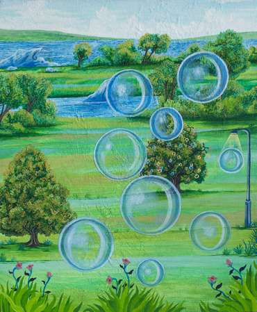 Thumbnail image of Study for 'Bubbles, Fairy Lights & Streetlight' by Andrew Sales