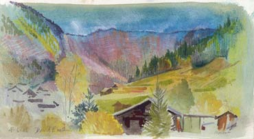 Thumbnail image of French Alps sketchbook page - Morzine by David Easton