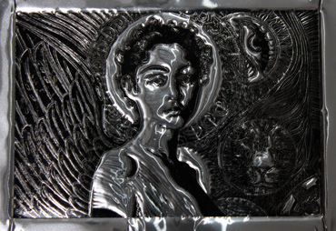 Thumbnail image of Ikon Tama, oil based print on aluminium plate, 20 x 18 cm by George Sfougaras