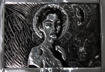 Thumbnail image of Ikon Tama, oil based print on aluminium plate, 20 x 18 cm by George Sfougaras