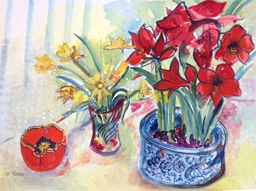 Amaryllis & Daffodils by Jill Hailes