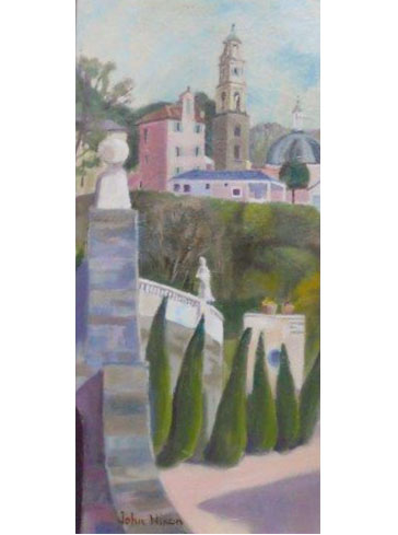 Thumbnail image of Walking in Portmeirion - triptych 1 by John Nixon