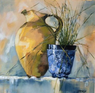 Blue and Brown Pot by Judy Merriman