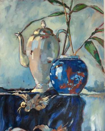 Thumbnail image of Blue pot with bamboo by Judy Merriman