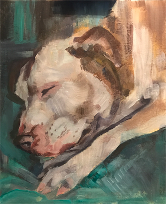 Sleeping Pit Bull Terrier by Julie Manson