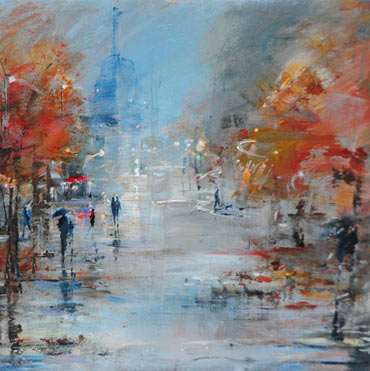 Wet Evening, Paris by Linda Sharman