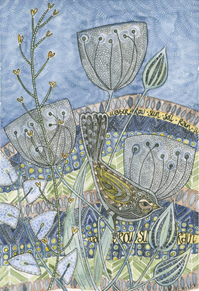 Yellow Bird in Meadow by Maria Boyd