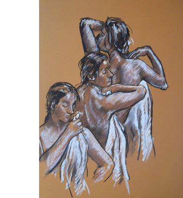 Thumbnail image of Study for 'After the Bath'  by Mark Hancock