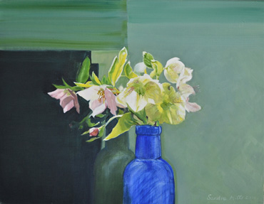 Thumbnail image of Hellebores in a Blue Vase by Sandra Mills