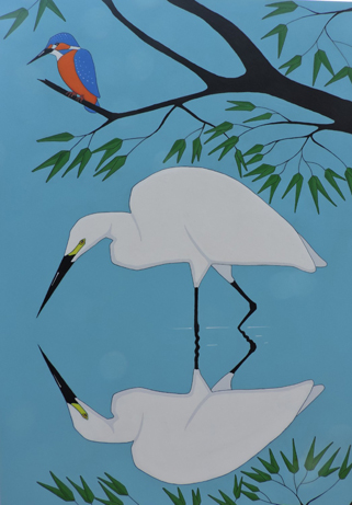 Little Egret and Kingfisher by Stuart Hill