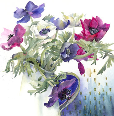 Thumbnail image of Anemones in Enamel Jug by Vivienne Cawson