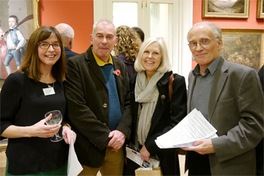 Thumbnail image of Charles Stanley Gold Prizewinner Jane French, Marck & Gillian Geary of West End Gallery, LSA Joint Chair Chris Bent - Preview Evening: LSA Annual Exhibition 2015