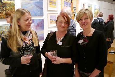 Thumbnail image of Susan West, LSA Treasurer Jo Sheppard, Hazel Crabtree - Preview Evening: LSA Annual Exhibition 2015