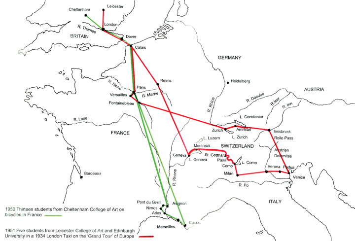 Map showing routes travelled by Douglas Smith