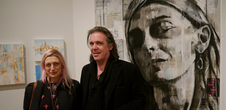 Scott Bridgwood in front of his drawing