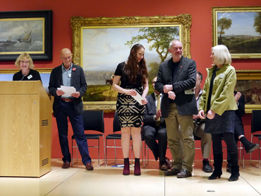 Thumbnail image of From Left: Sarah Levitt, Trevor Bent, Tiffany Tangen, Marck Geary and Gillian Geary of West End Gallery - Preview Evening: LSA Annual Exhibition 2016